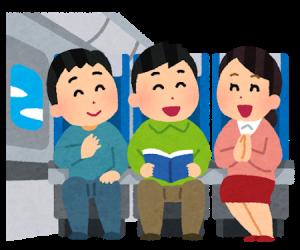 新幹線に乗る人のイラスト